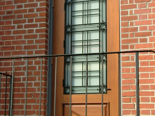 Custom Grill on Single Entry Door at Macon Branch Library